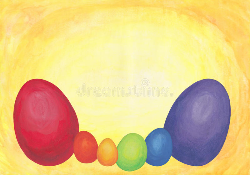 Rainbow Colored Easter Eggs 2017. An abstract watercolor painting of a bunch of easter eggs colored in the tones of the rainbow, a symbol for renewing and royalty free illustration