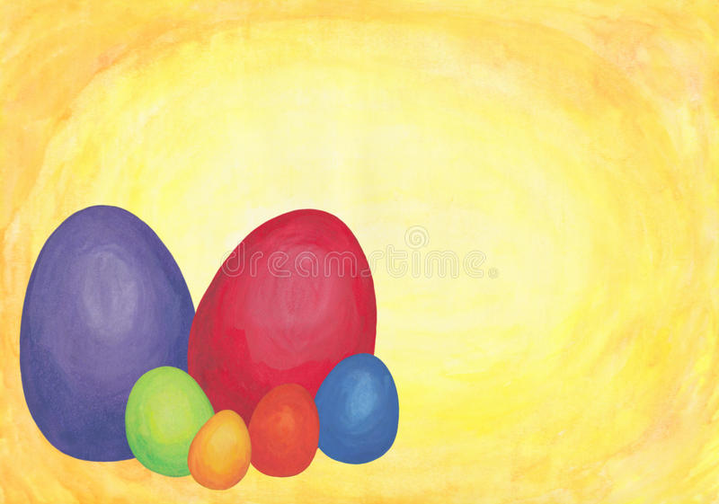 Rainbow Colored Easter Eggs 2 2017. An abstract watercolor painting of a bunch of easter eggs colored in the tones of the rainbow, a symbol for renewing and stock illustration