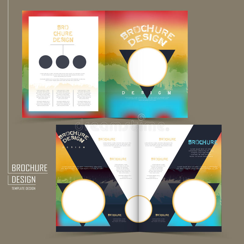 Rainbow Colored Half-Fold Brochure Template Design Stock Vector