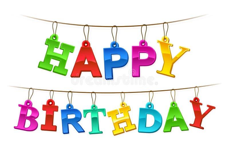 Rainbow colored Happy Birthday hanging banner royalty free illustration