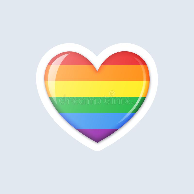 Rainbow colored heart LGBT icon. Gay Pride Month celebration concept. Rainbow colored heart icon. LGBT community concept. Gay Pride Month celebration. Isolated royalty free illustration