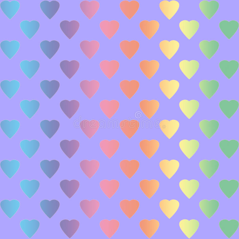 Rainbow colored hearts vector illustration