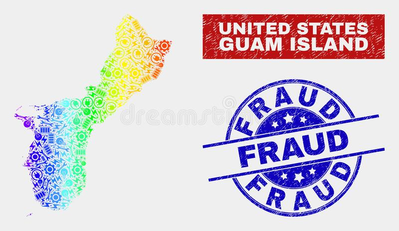 Rainbow Colored Industrial Guam Island Map and Scratched Fraud Watermarks stock illustration