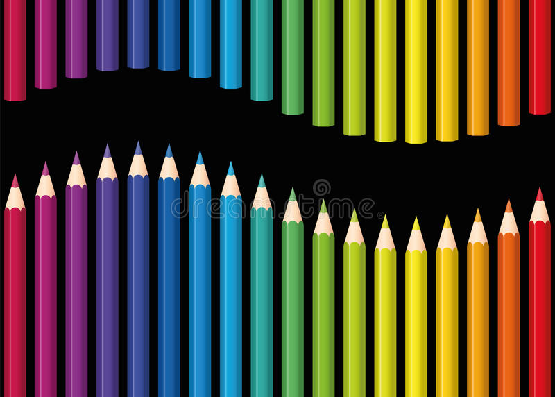 Rainbow Colored Pencils Seamless Wave Black royalty free illustration