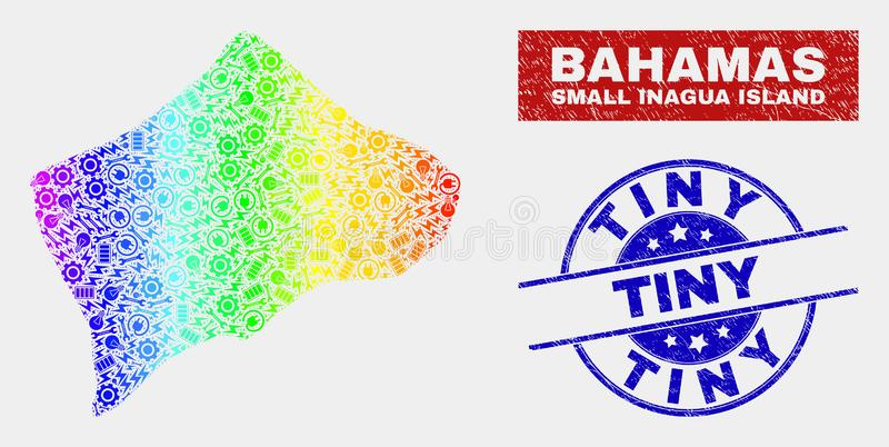 Rainbow Colored Productivity Small Inagua Island Map and Scratched Tiny Stamp Seals royalty free illustration
