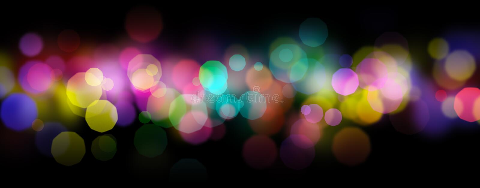 Rainbow colored shiny defocused abstract light bokeh background. Over black stock illustration