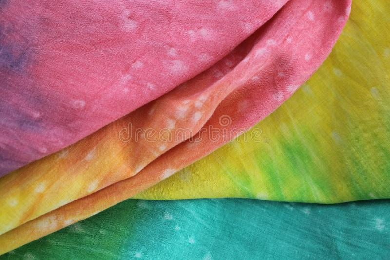 Rainbow Colored Tie Dyed Fabric stock photos