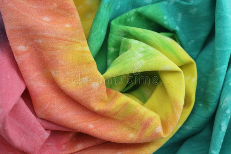 Rainbow Colored Tie Dyed Fabric royalty free stock photos
