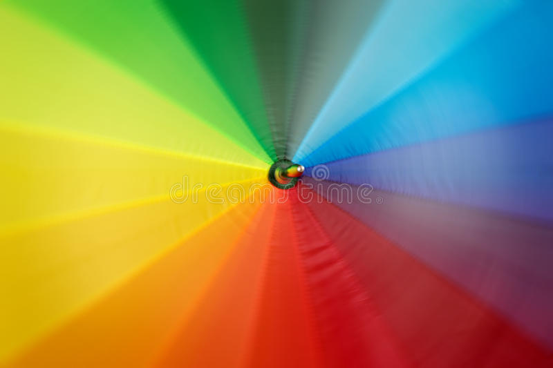 Rainbow colored umbrella in motion. Texture of rainbow colored umbrella in motion royalty free stock image