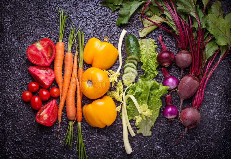 Rainbow colored vegetables. stock images
