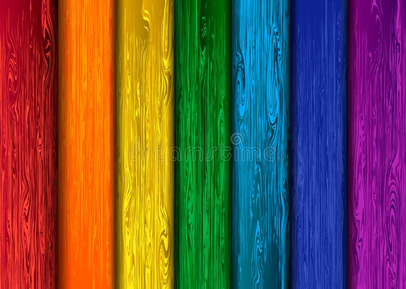 Rainbow colored wood texture, wood planks royalty free stock images