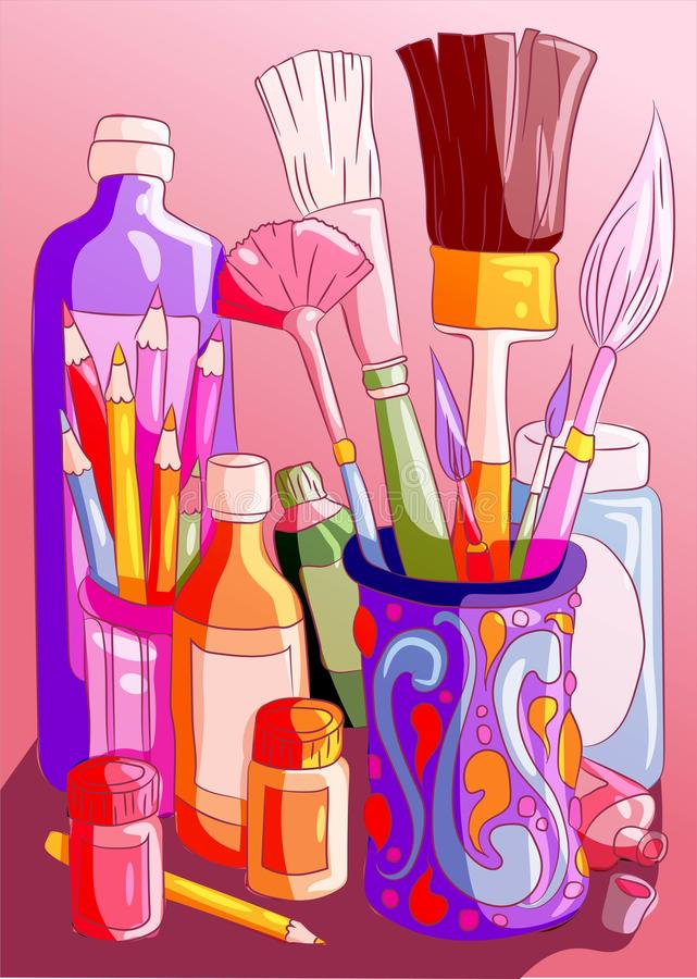 Rainbow of colorful art supplies. Brushes, paint, watercolors and crayons artistic school educational materials. Crafting workshop stock illustration