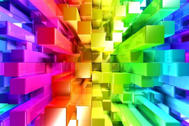 Rainbow of colorful blocks stock illustration