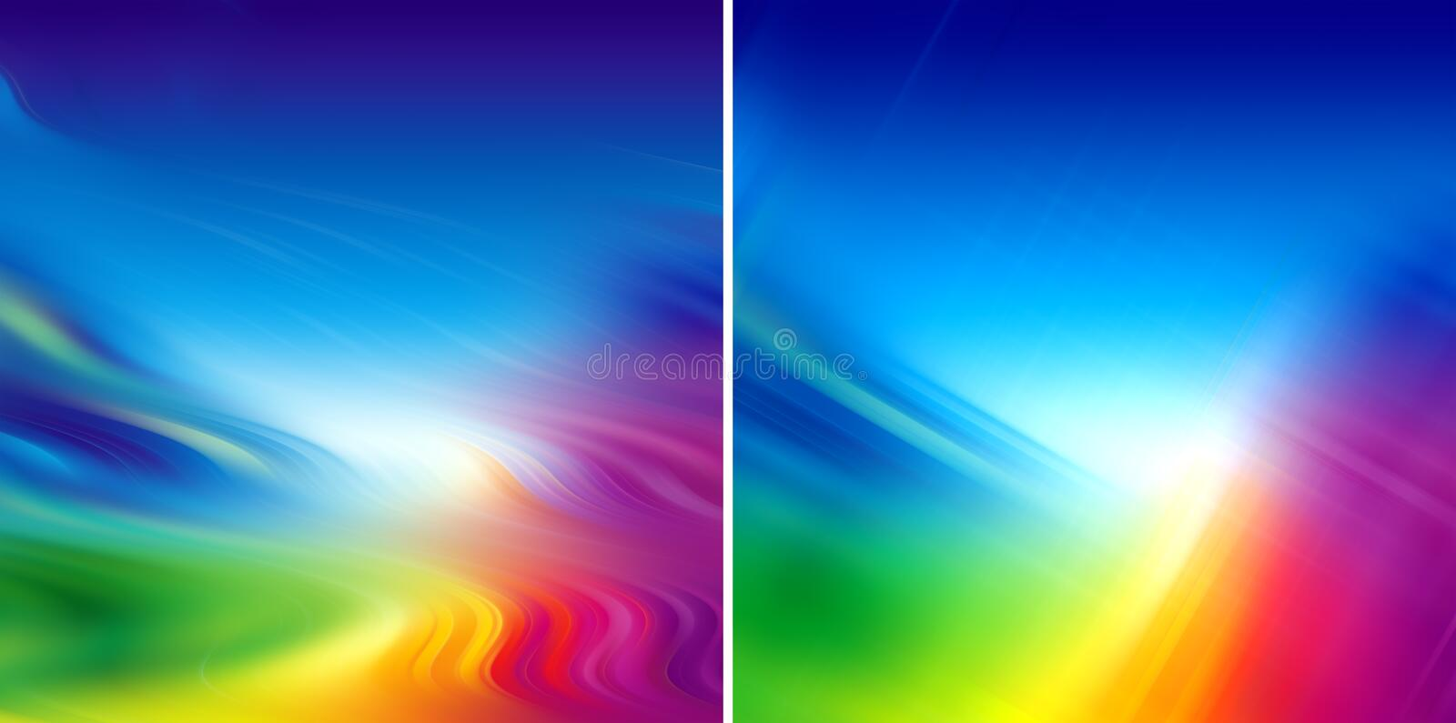 Rainbow colorful blur. Set of two rainbow colorful blur background royalty free illustration
