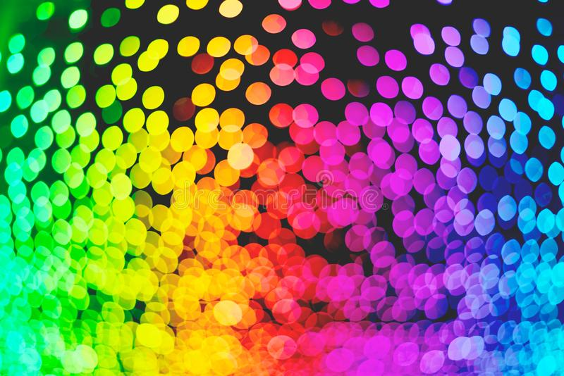Rainbow colorful bokeh illumination wallpaper texture, defocused, illustration stock photography