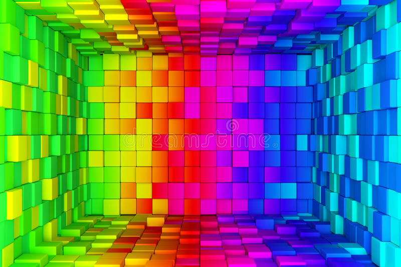 Rainbow of colorful boxes vector illustration