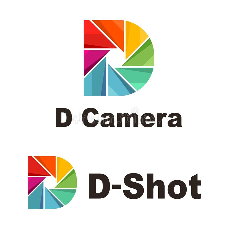 Rainbow Colorful D Letter Camera Shutter Shot Logo royalty free illustration