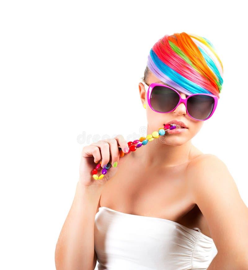 Rainbow colorful fashion makeup stock image