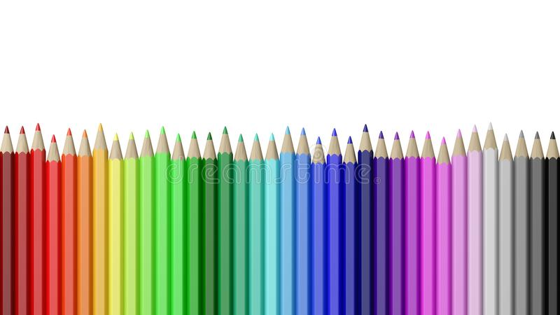 Rainbow of Colorful Pencils Aligned. Rainbow of Colorful Wood Pencils Aligned Isolated on White Background Illustration royalty free illustration