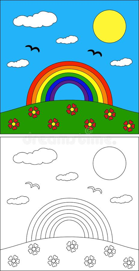 Rainbow coloring page vector illustration