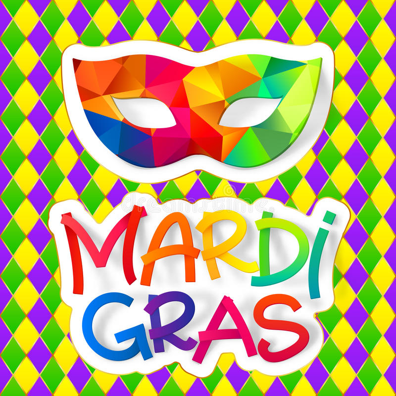 Download Rainbow Colors Carnival Mask With Colorful Mardi Gras Lettering On Traditional Diamond Pattern Stock Vector - Illustration of illustration, celebrate: 83711259