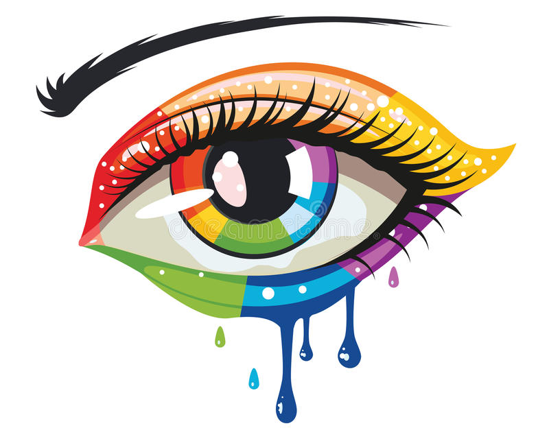 Rainbow Colors Eye. Female eye in rainbow colors, melting paint makeup stock illustration