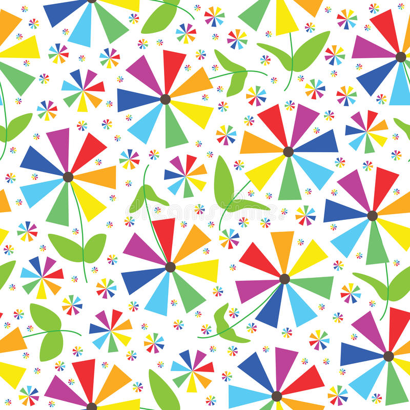 Free Rainbow Colors Flowers Seamless Pattern_eps Stock Photography - 27543772