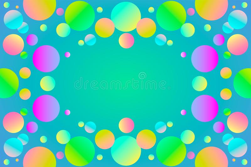 Rainbow colors glossy balls background. Vector illustration. royalty free illustration