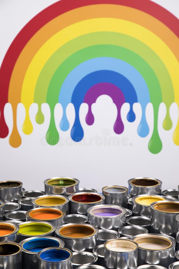 Rainbow colors, Group of tin metal cans. Rainbow, tin metal cans with color paint stock photography