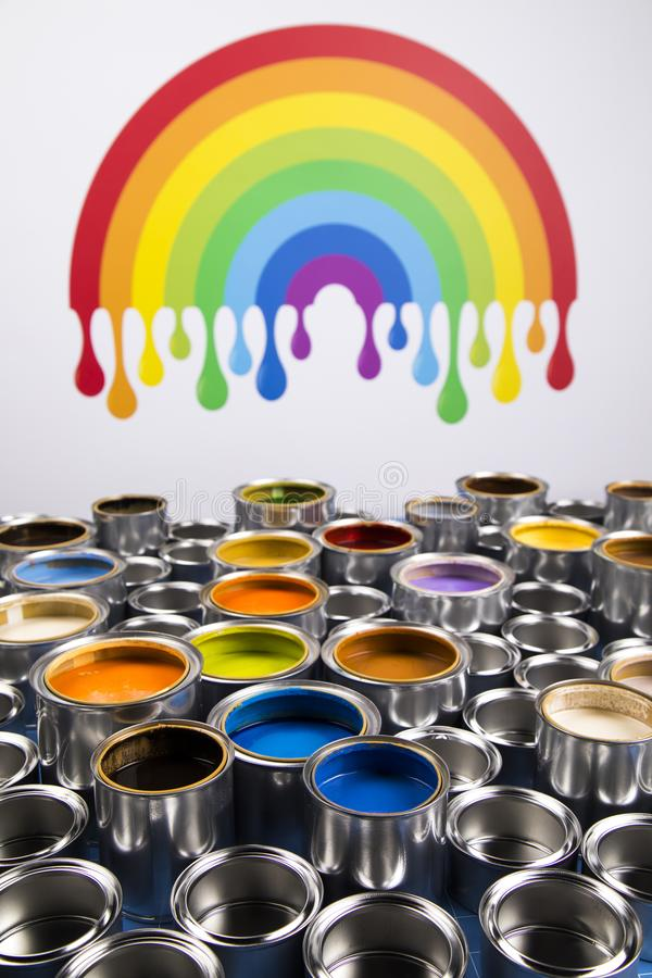 Rainbow colors, Group of tin metal cans. Rainbow, tin metal cans with color paint stock photos