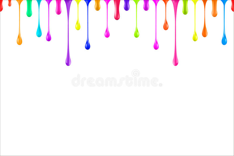 Rainbow colors oil paint glossy drops on white vector illustration