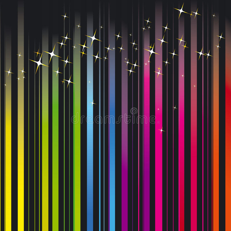 Rainbow Colors Stripe With Sparkling Stars Royalty Free Stock Image