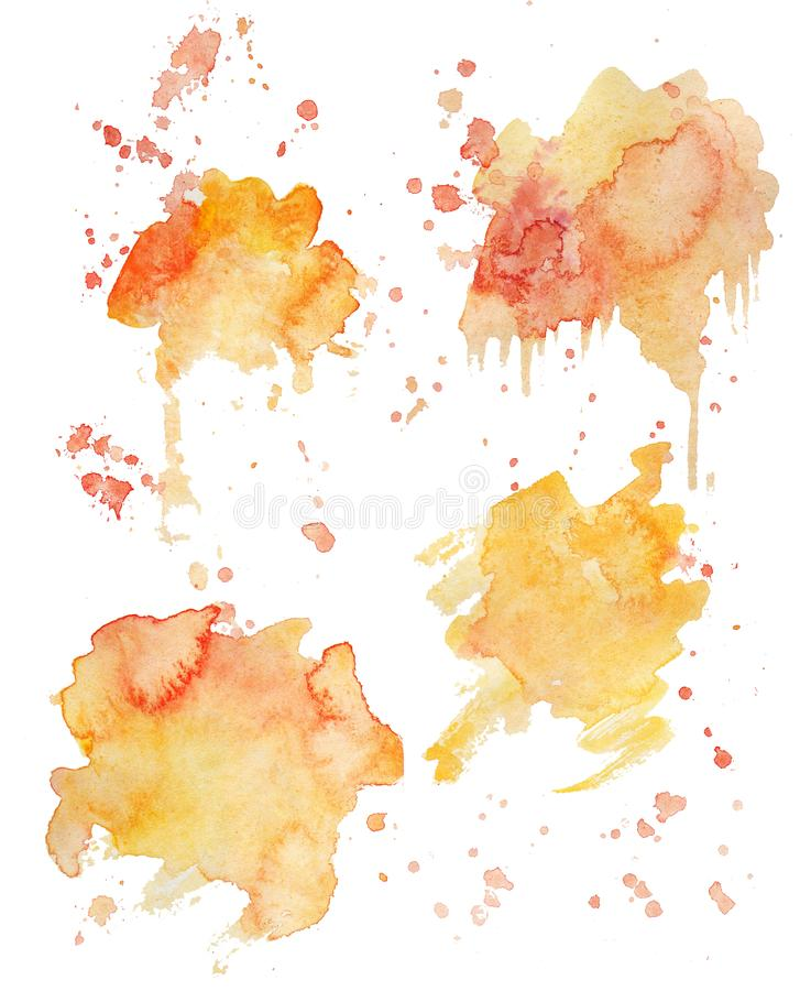 Rainbow colors watercolor paint stains backgrounds set. Bright watercolor splashes royalty free illustration