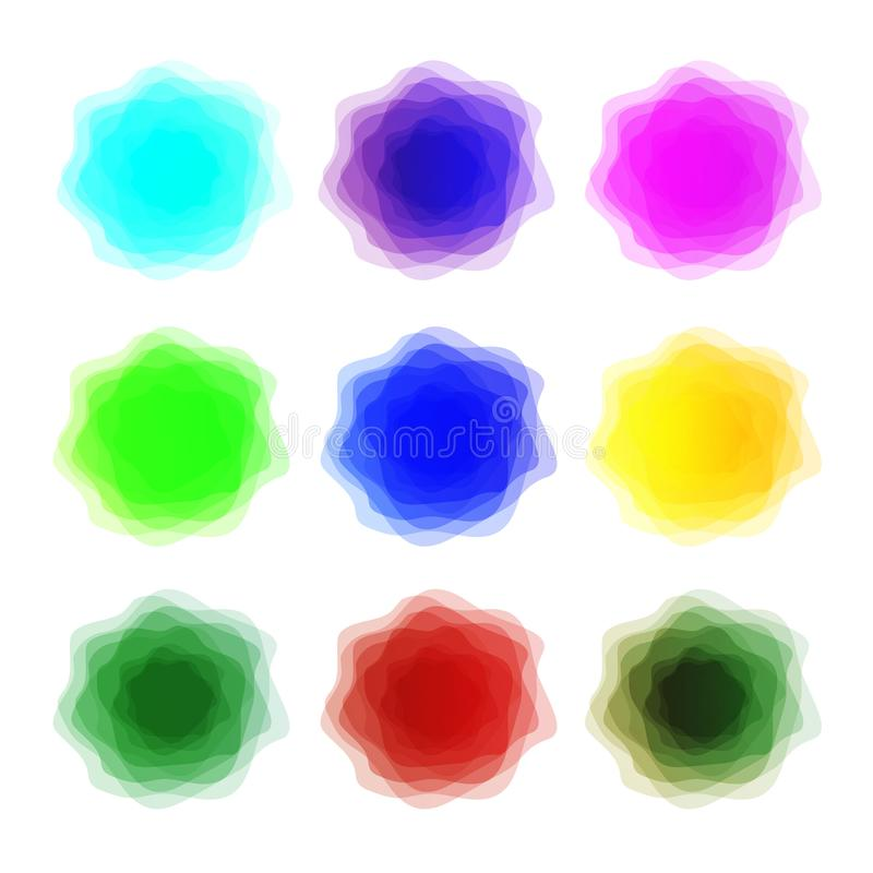 Rainbow colors watercolor paint stains vector illustration