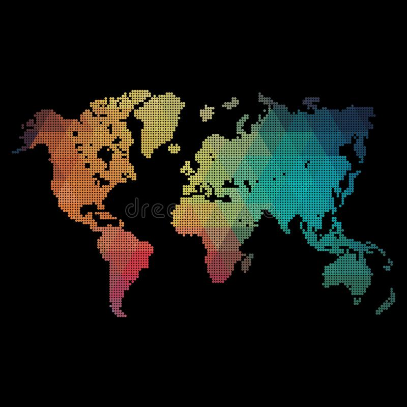 Rainbow colors world map made from dots royalty free stock images