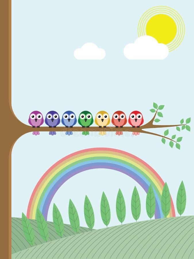 Rainbow colour birds stock illustration
