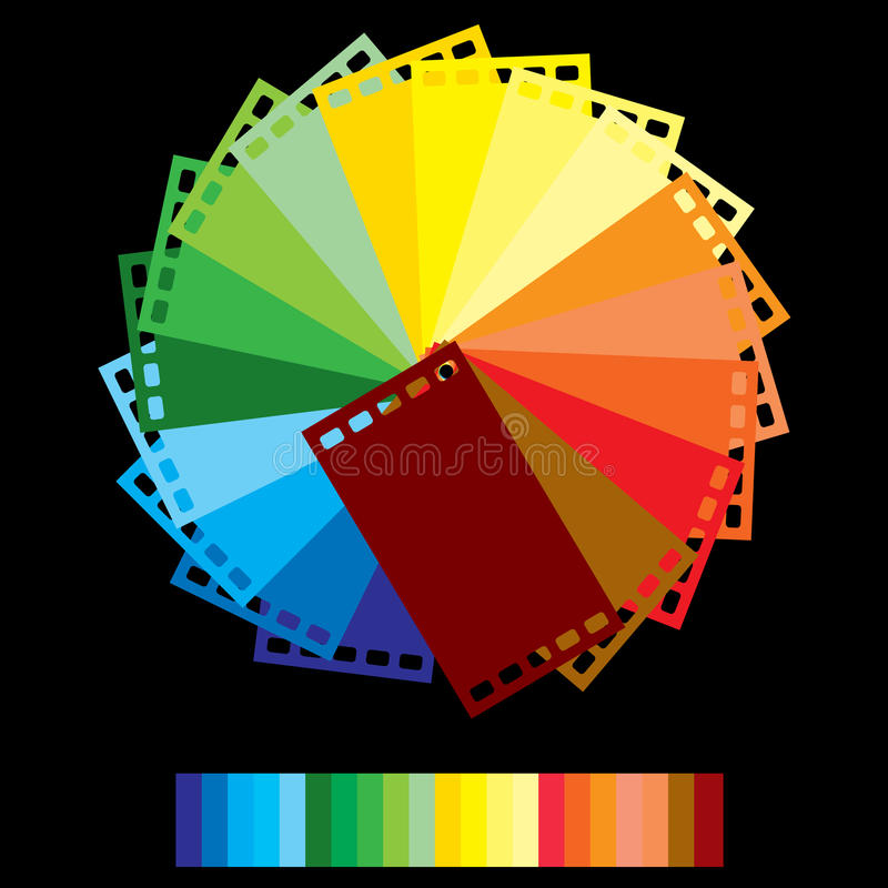 Rainbow colour film. The rainbow colour films in rounding in the dark background vector illustration