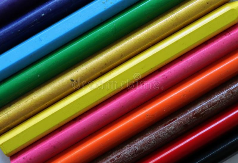 Rainbow Coloured Pattern Using Crayons stock images