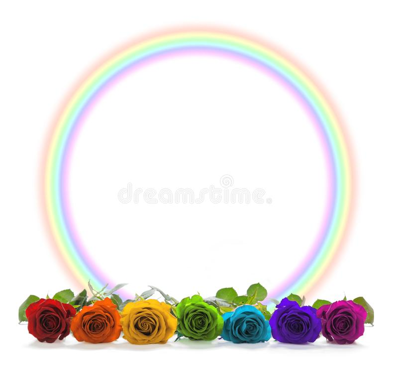Rainbow coloured roses and rainbow circle border stock photo