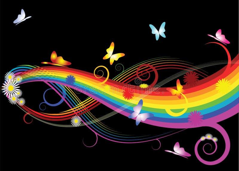 Rainbow con i fiori illustrazione di stock