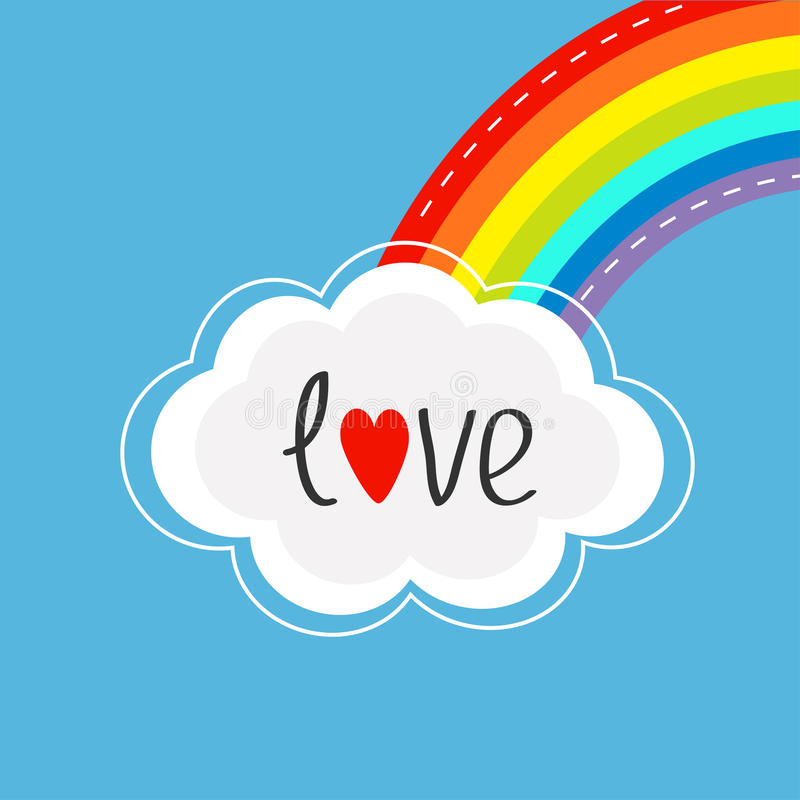 Rainbow on the corner and cloud in the sky. Dash line. Love card. stock illustration