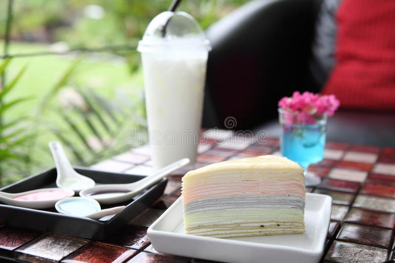 Rainbow Crepe cake. In close up royalty free stock photography