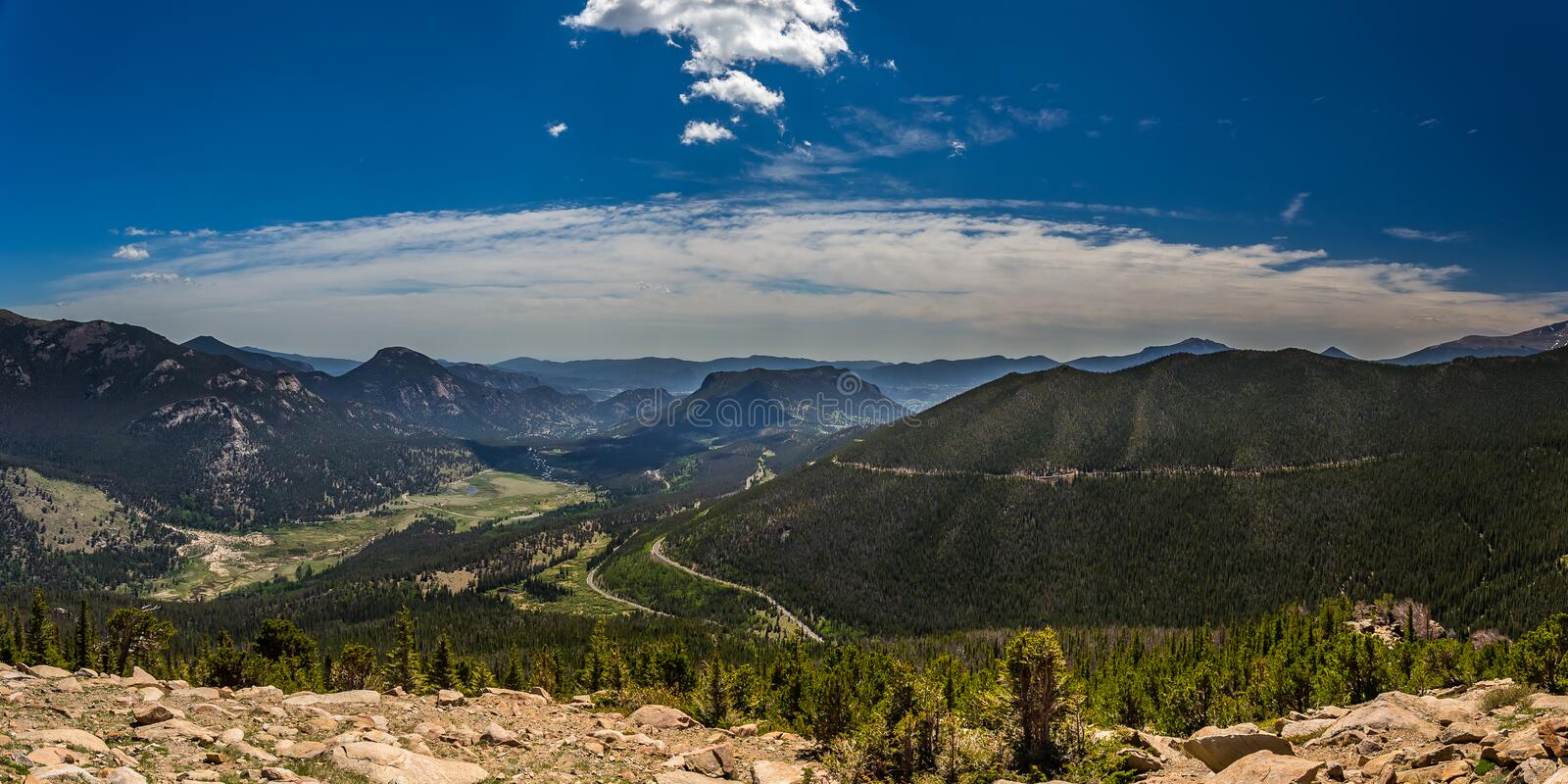 Rainbow Curve Overlook in Rocky Mountain National Park stock image