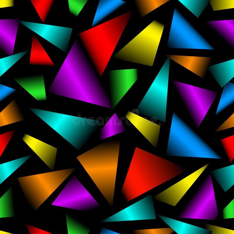 Rainbow 3d triangle patterns on black background. Seamless modern vector ornament. stock illustration
