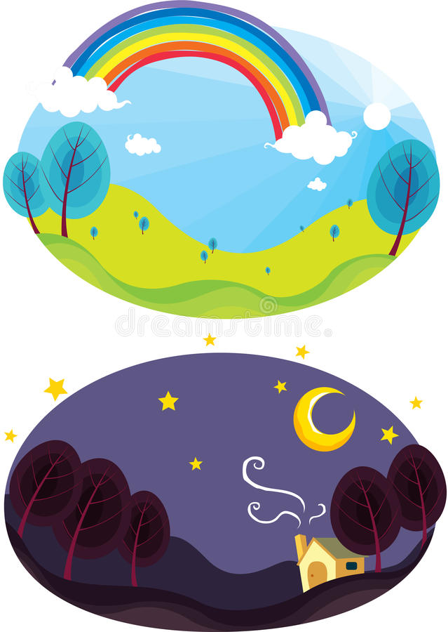 Rainbow and dark sky. Illustration of rainbow and dark night sky stock illustration