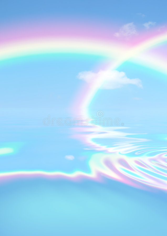 Rainbow Day. Fantasy abstract of double rainbows against a blue sky with reflection over rippled water royalty free stock image