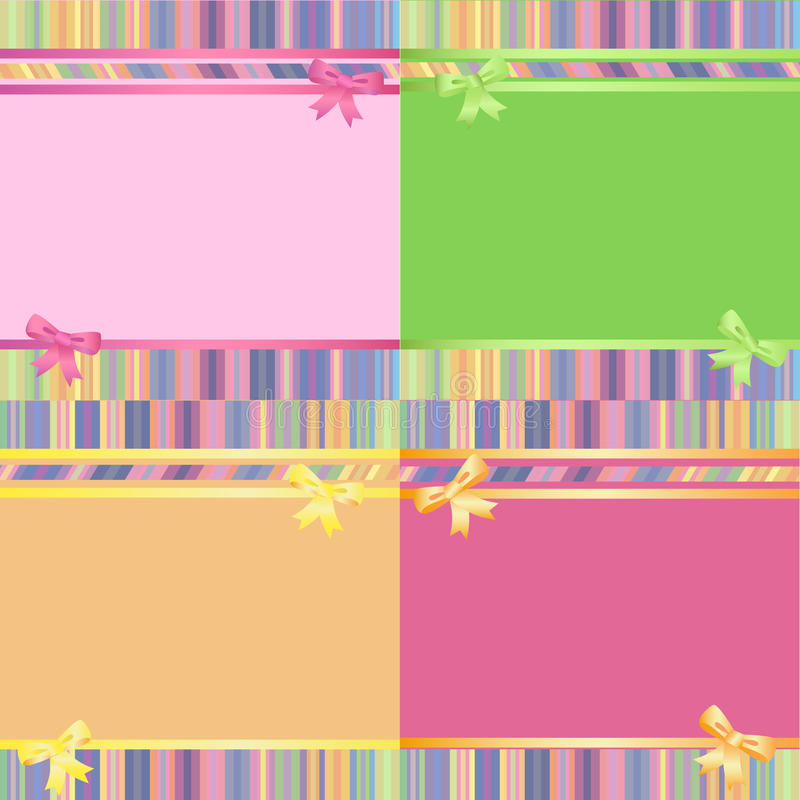 Rainbow Decorative Striped Backgrounds Set Stock Images