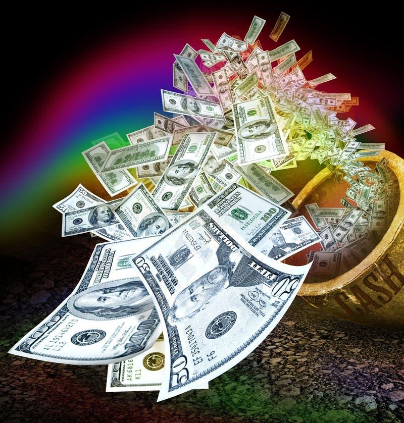Rainbow del POT dei contanti immagine stock libera da diritti