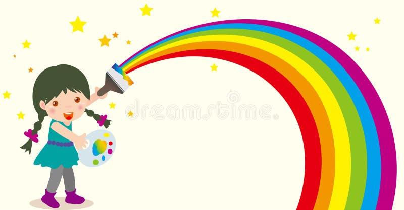 Rainbow della pittura della ragazza illustrazione vettoriale