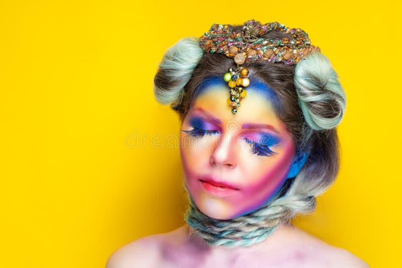 Rainbow design art make up stock photo